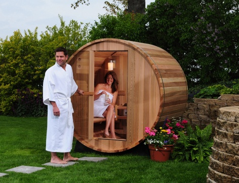 Rustic Cedar Wood Barrel Sauna