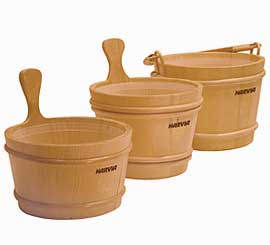 Harvia Wooden Sauna Buckets with Plastic Liner