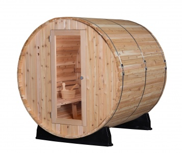 Rustic Western Red Cedar Barrel Sauna - 4 Person